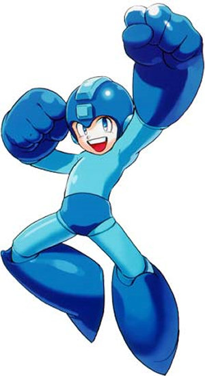 Mega Man looking rather happy about something